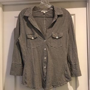 James Perse Striped Button Down Size XL